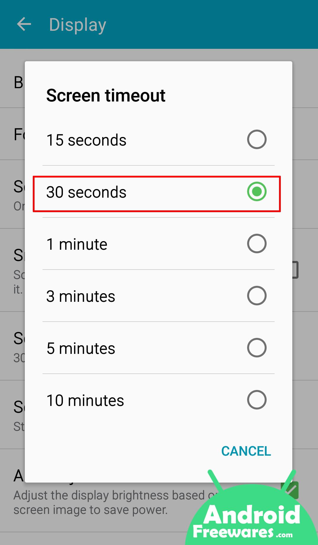 reduce display timeout