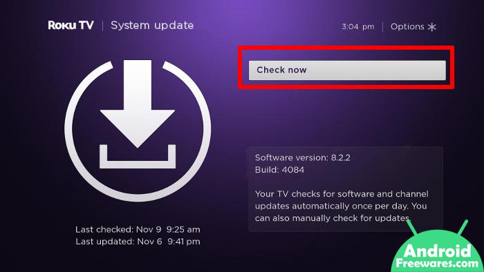 roku tv system update latest