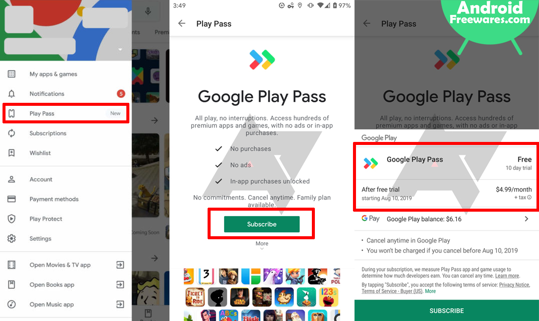 sign up for google play pass